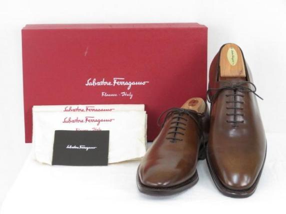 Salvatore Ferragamo フェラガモ 革靴 ブラウン レースアップ ホールカット